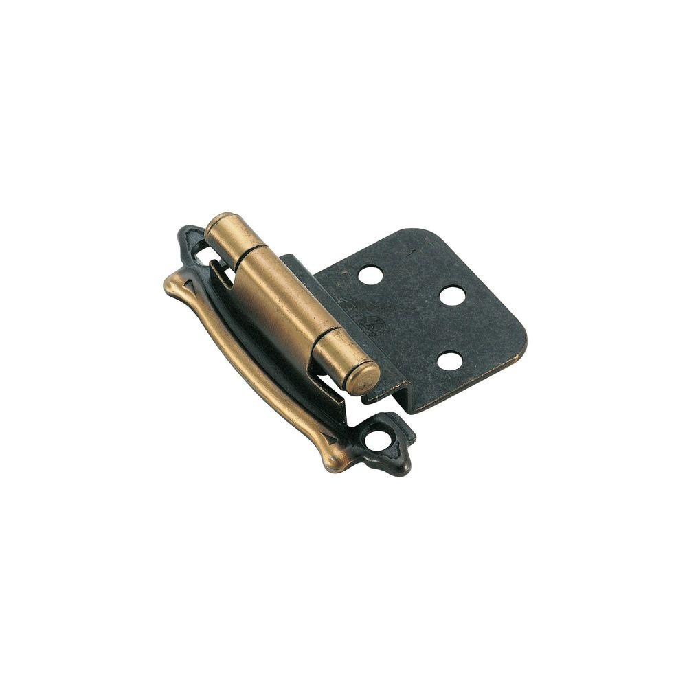 3/8 in. Inset Antique Brass Self-Closing Face Mount Hinge