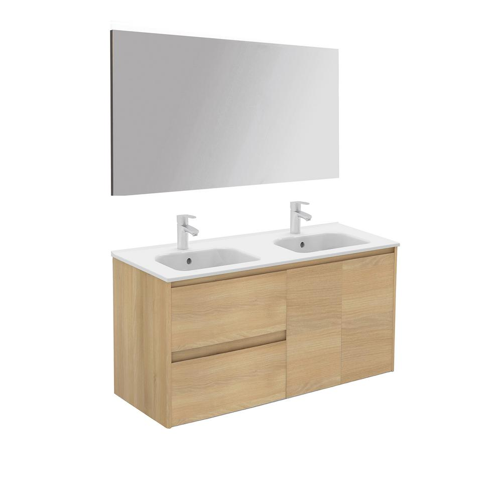 WS Bath Collections 47.5 in. W x 18.1 in. D x 22.3 in. H Complete Bathroom Vanity Unit in Nordic Oak with Mirror