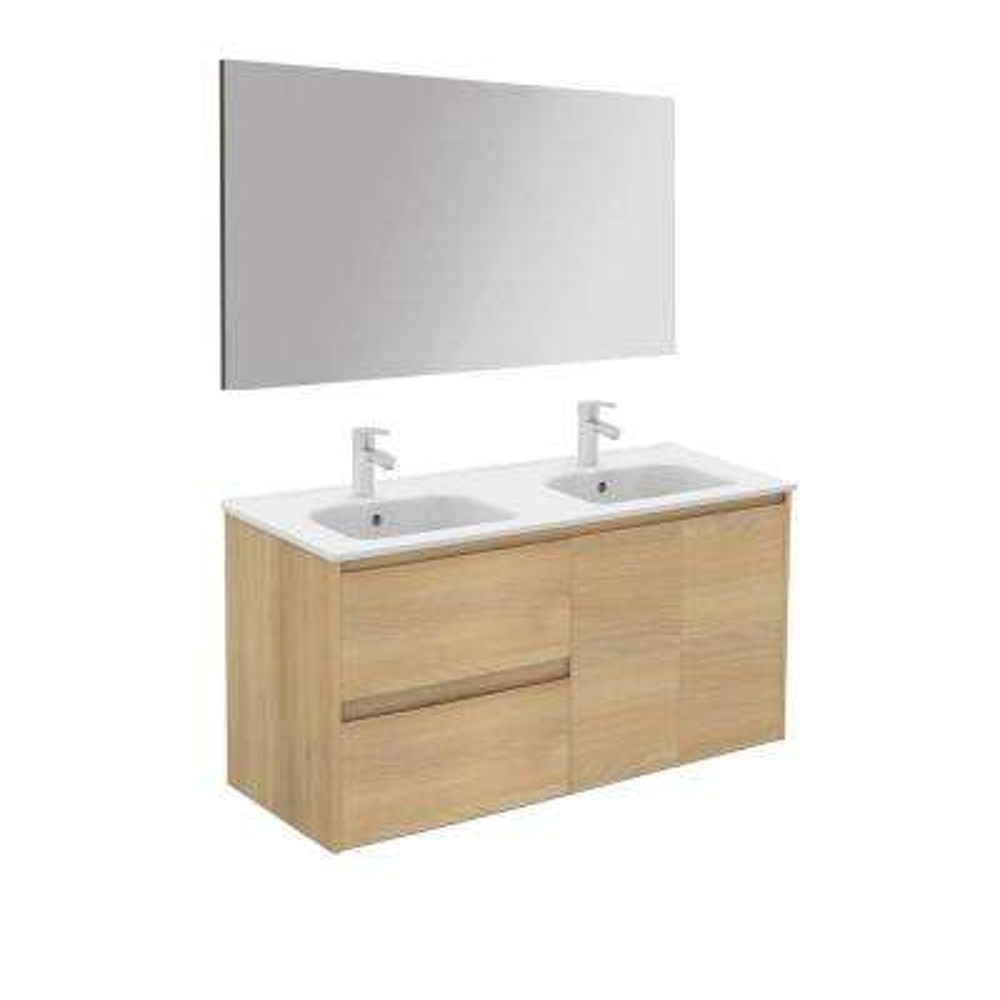 47.5 in. W x 18.1 in. D x 22.3 in. H Complete Bathroom Vanity Unit in Nordic Oak with Mirror