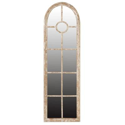 Oversized Arch Tan Brown Natural Antiqued Classic Mirror (78.9 in. H x 23.8 in. W)