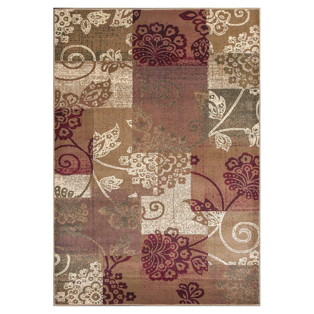 Patchwork Fame Beige/Brown 3 ft. 3 in. x 4 ft. 11