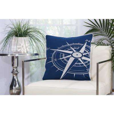 Compass 20 in. x 20 in. Navy and White Indoor and Outdoor Pillow