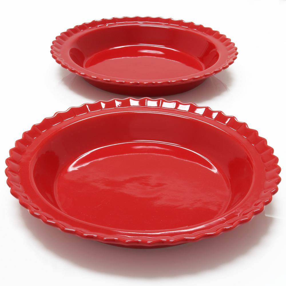 Classic 9 in. True Red Round Ceramic Pie Dish (2-Pack)