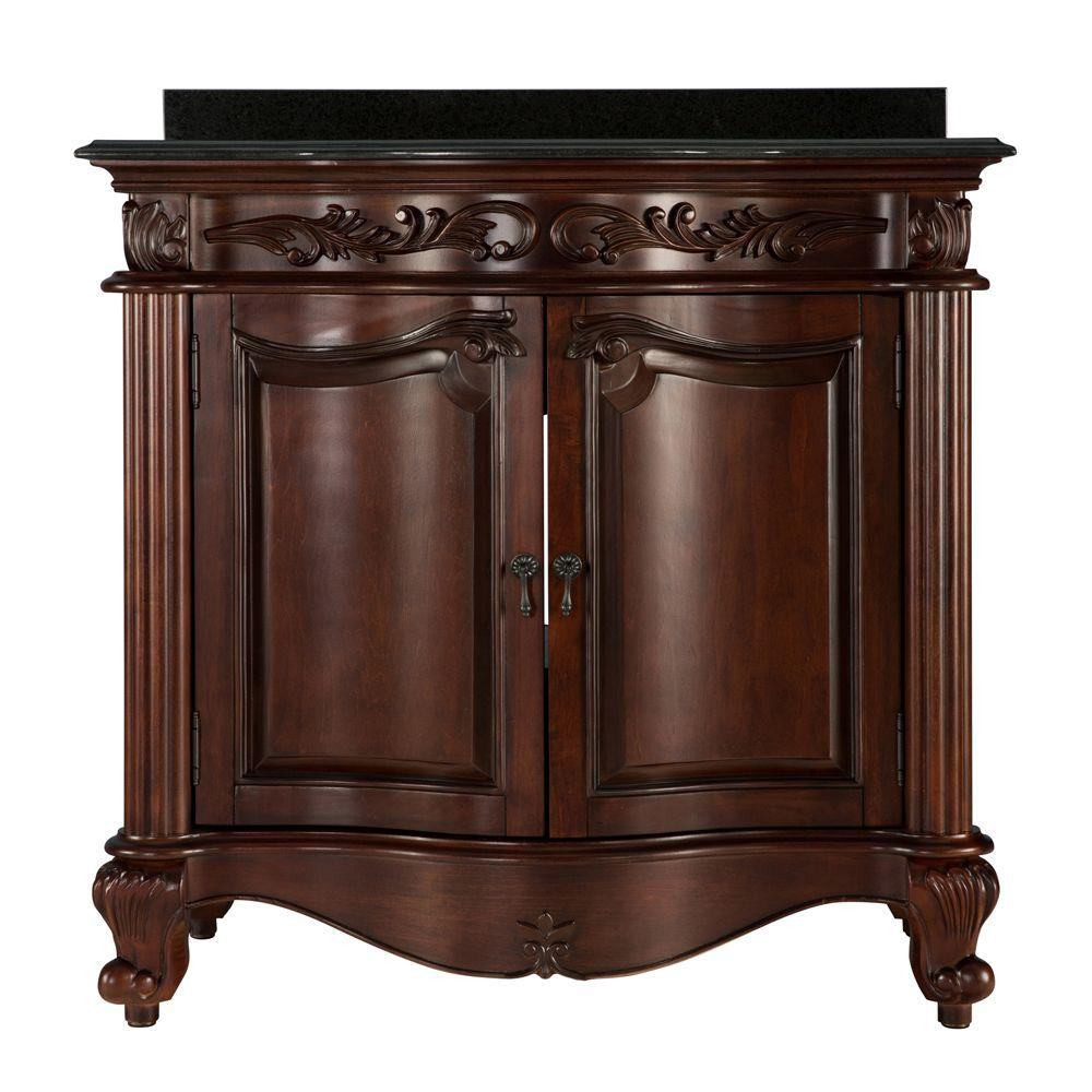 null Estates 37 in. Vanity in Rich Mahogany with Granite Vanity Top in Black