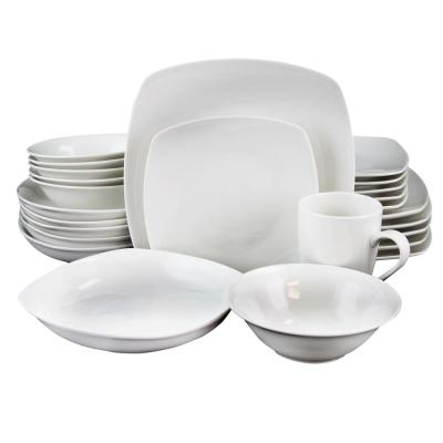 Hagen 30-Piece White Square Dinnerware Set