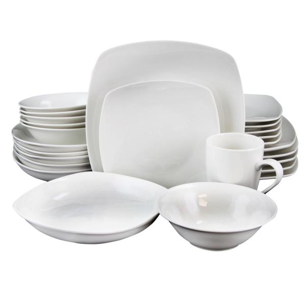 Gibson Hagen 30-Piece White Square Dinnerware Set 98599968M