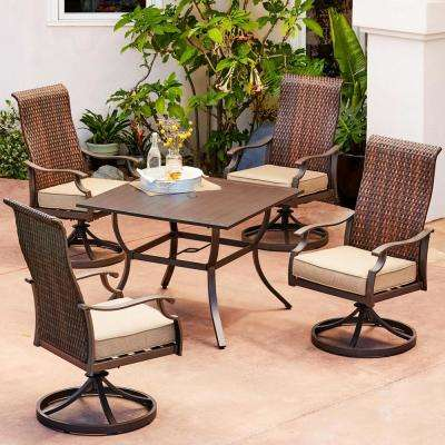 Rhone Valley 5-Piece Wicker Motion Outdoor Dining Set with Tan Cushions