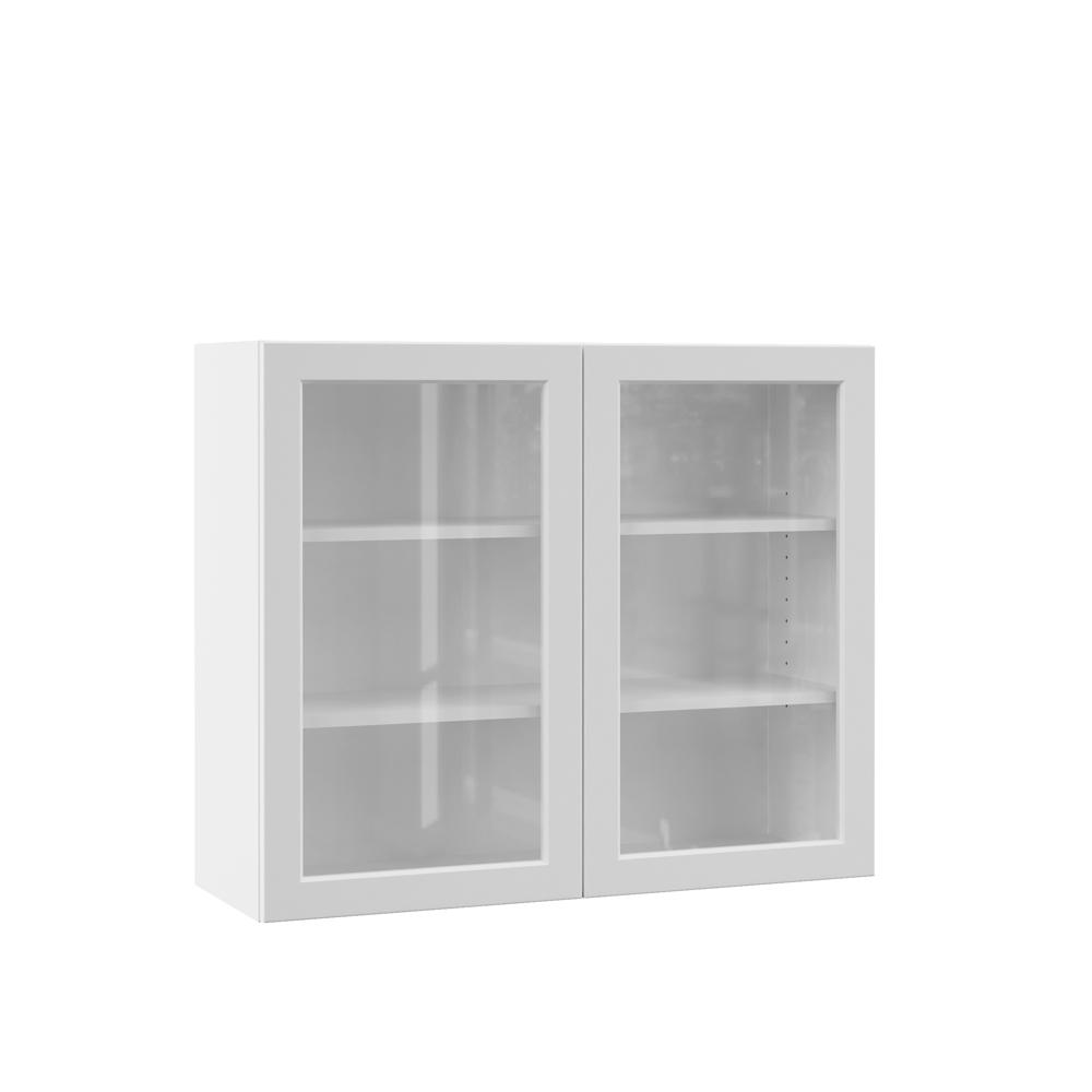 Hampton Bay Designer Series Melvern Assembled 36x30x12 In. Wall Kitchen  Cabinet With Glass Doors In