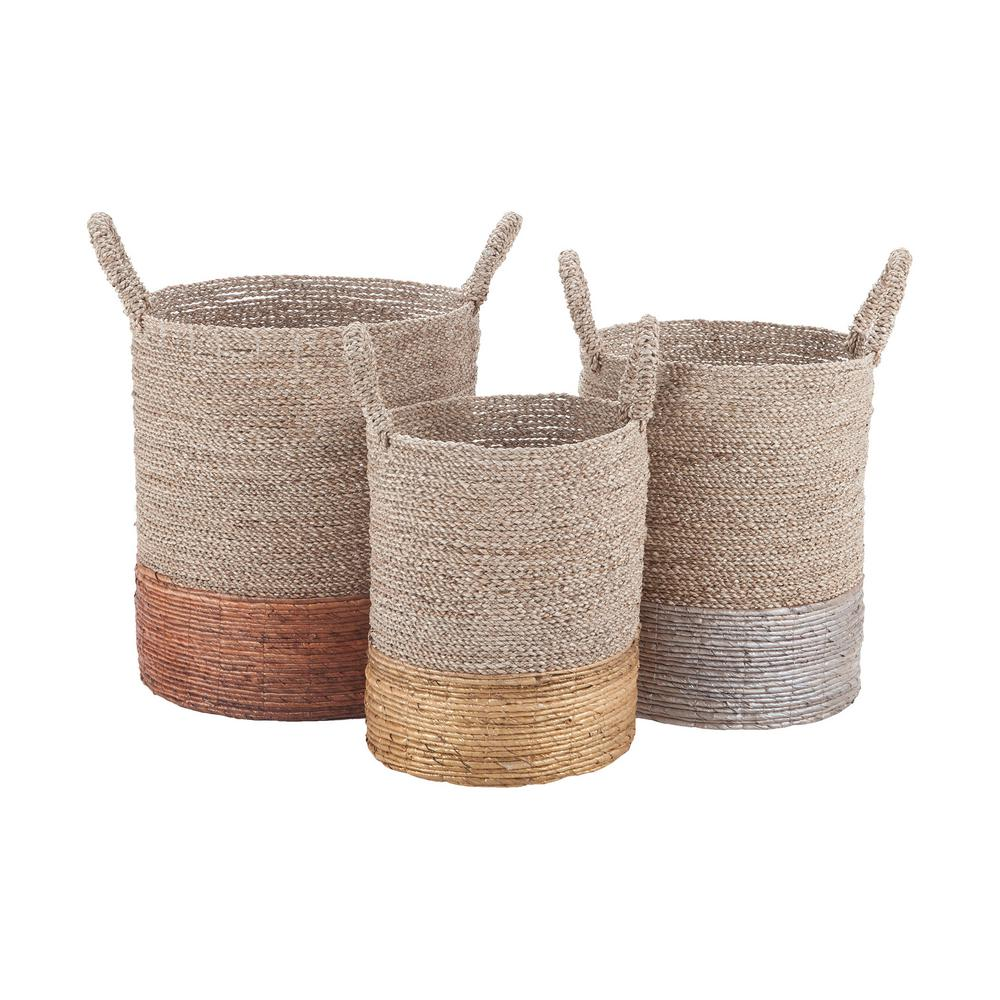 null Mixed Metallics Leather Nested Decorative Baskets (Set of 3)