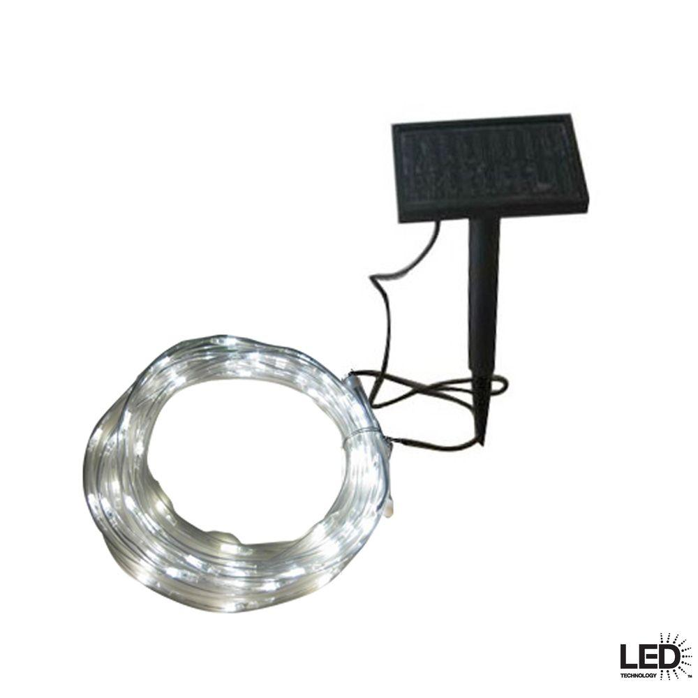 Solar string lights outdoor lighting the home depot solar integrated led clear rope light with solar panel and stake workwithnaturefo