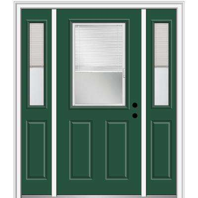 68.5 in. x 81.75 in. Internal Blinds Left-Hand 1/2-Lite Clear Painted Fiberglass Smooth Prehung Front Door w/ Sidelites