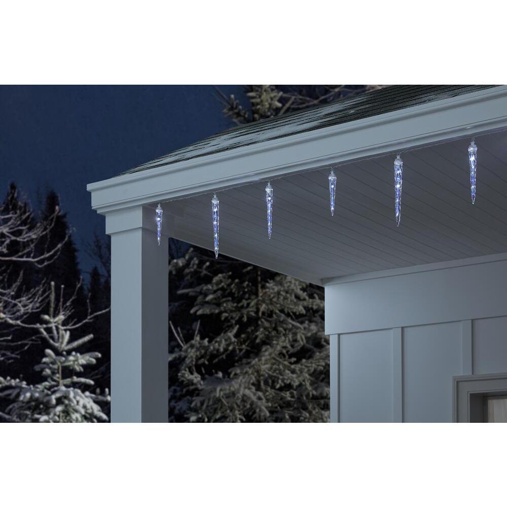 48-Light Blue/White Shooting Star Christmas Icicle LED String Light