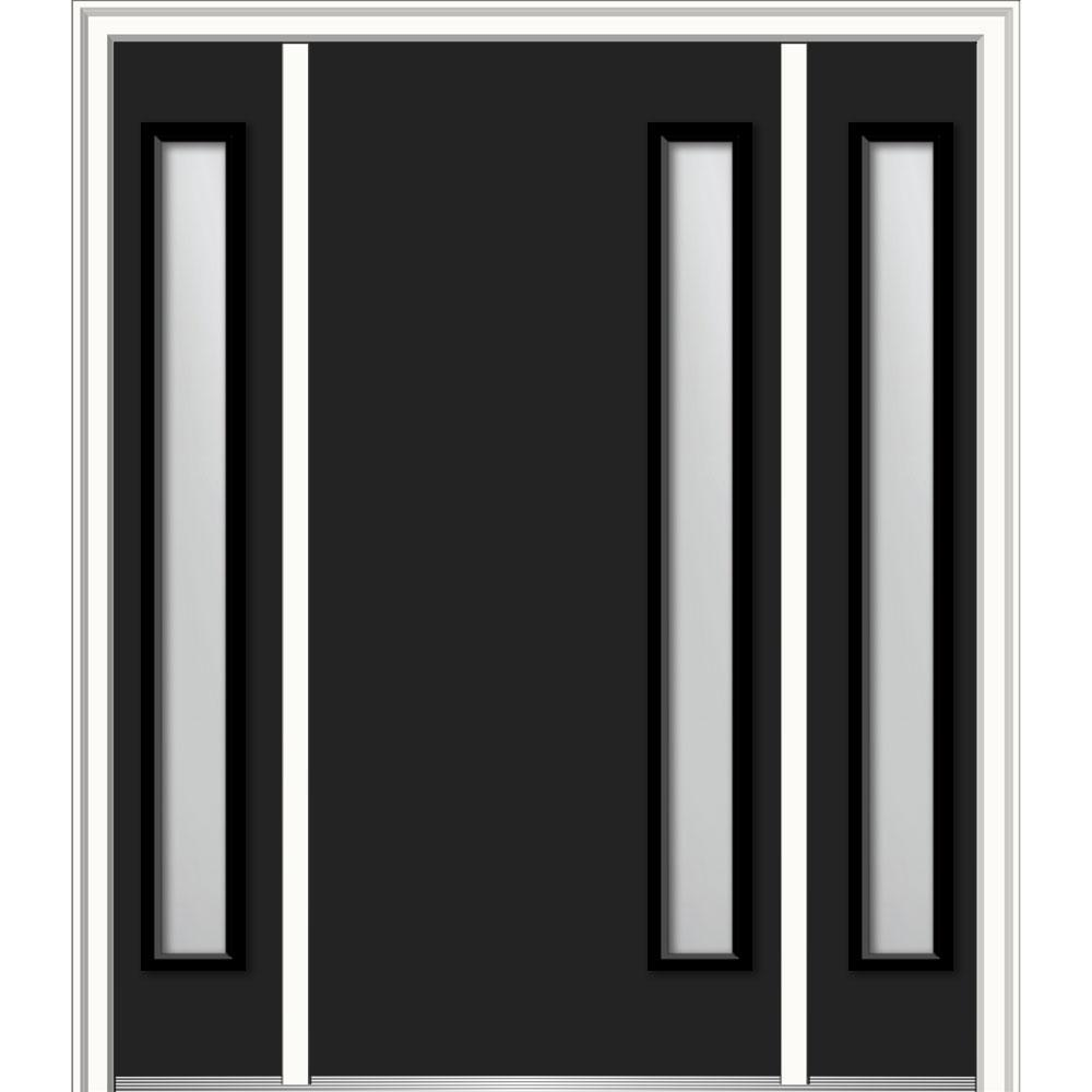 6f0c3d1507d Viola Left-Hand Inswing 1-Lite Clear Low-E Painted Steel Prehung Front Door  with Sidelites