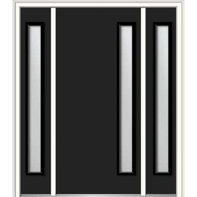 64 in. x 80 in. Viola Left-Hand Inswing 1-Lite Frosted Modern Painted Steel Prehung Front Door with Sidelites
