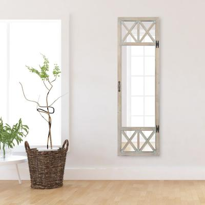 19 in. x 60 in. White Wash Distressed Wood French Door Full Length Mirror