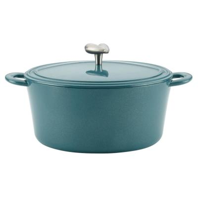 6 Qt. Cast Iron Enamel Covered Dutch Oven in Twilight Teal