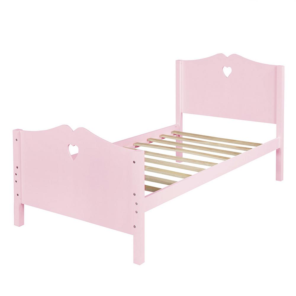 Boyel Living Pink Bed Frame Twin Platform Bed With Wood Slat Support And Headboard And Footboard Ly Lp000070aah The Home Depot