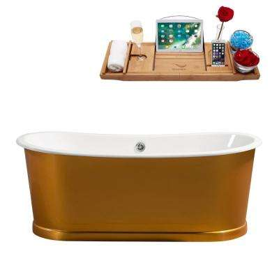 66.9 in. Cast Iron Flatbottom Non-Whirlpool Bathtub in Gold