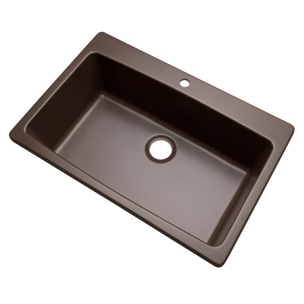 Rockland Dual Mount Composite Granite 33 in. 1-Hole Single Basin Kitchen Sink in Mocha
