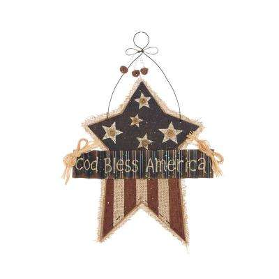 16.26 in. H Patriotic Burlap/Wooden Star Wall Decor