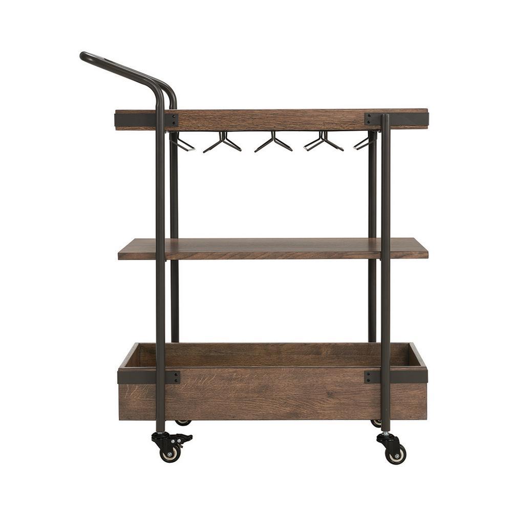 Kyra 32''L Oak and Metal Bar Cart