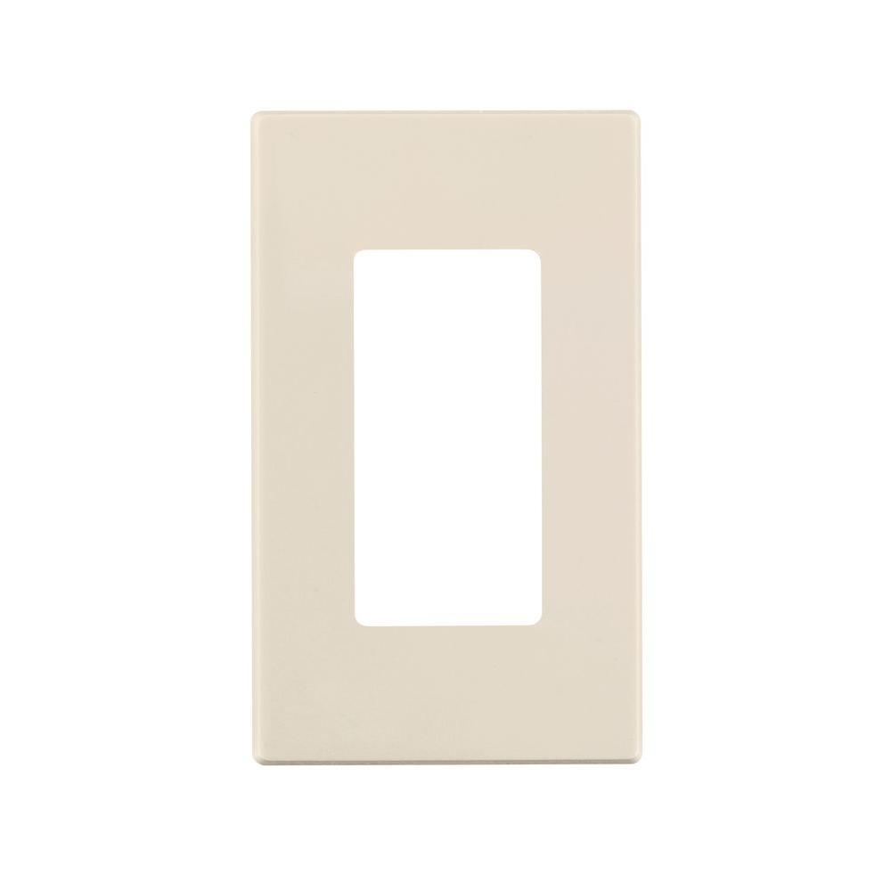 Leviton Decora Plus 1-Gang Screwless Snap-On Wall Plate, Light Almond
