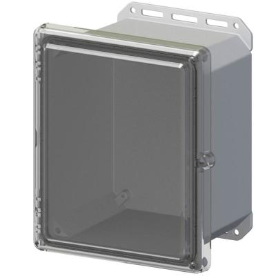 11.8 in L x 10.2 in W x 7.5 in H Cabinent Enclosure Polycarbonate Clear Hinged Screw Top Gray Bottom
