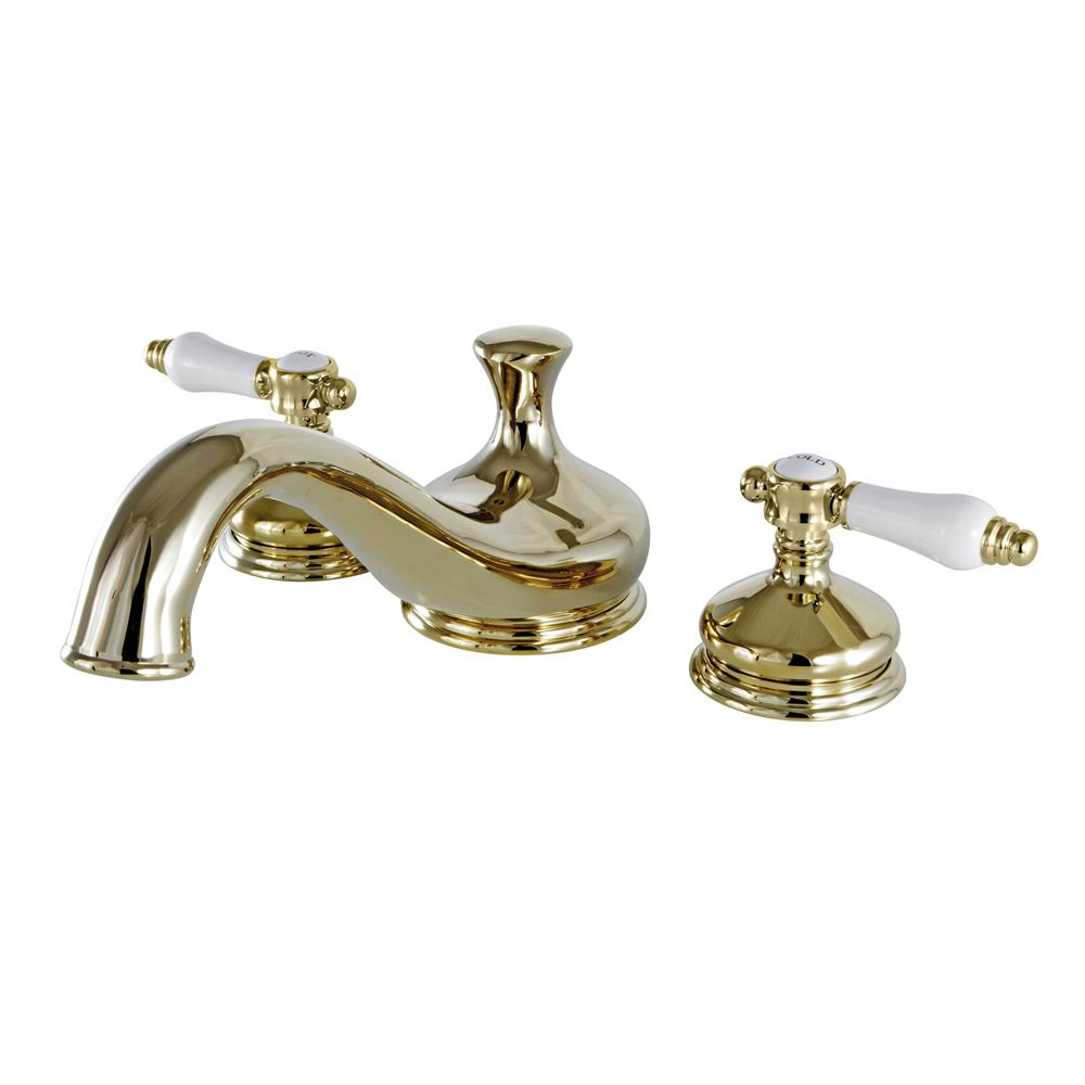 Kingston Brass Heritage Porcelain 2-Handle Deck Mount Roman Tub Faucet in Polished Brass