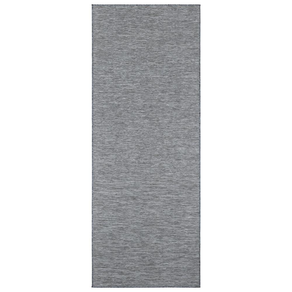 Ottomanson Sundance Collection Solid Gray 2 ft. 7 in. x 5 ft. Indoor/Outdoor Reversible Runner Rug