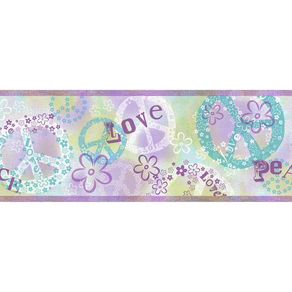 Janis Purple Peace Love Toss Wallpaper Border Sample