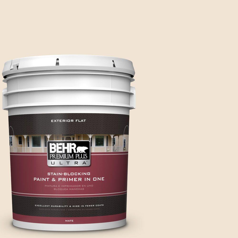 BEHR Premium Plus Ultra 5-gal. #N290-1 Original White Flat Exterior Paint