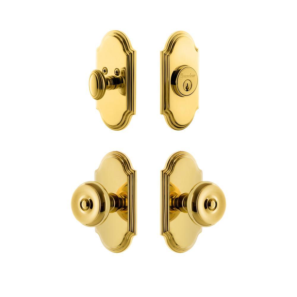 Arc Plate 2-3/8 in. Backset Lifetime Brass Bouton Door Knob with Single Cylinder Deadbolt