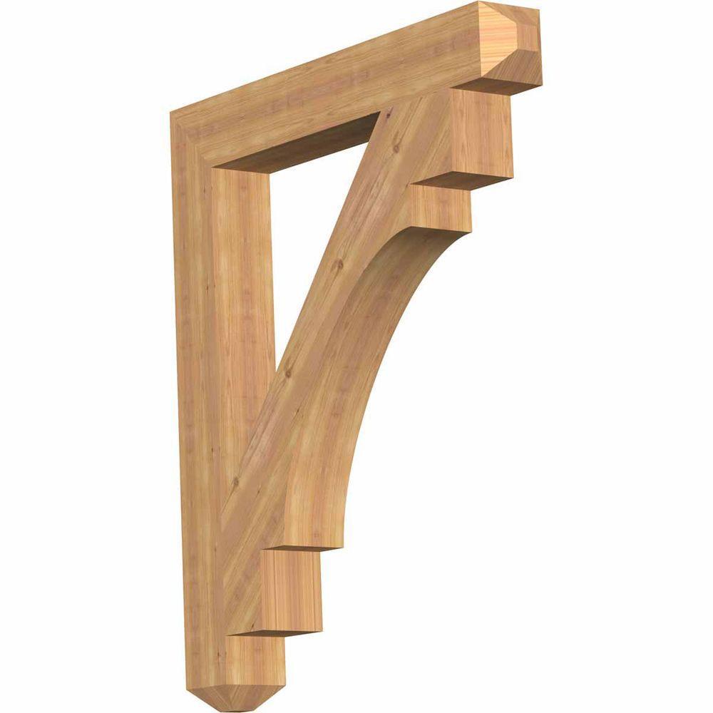 Ekena Millwork 5.5 in. x 48 in. x 42 in. Western Red Cedar Merced Craftsman Smooth Bracket