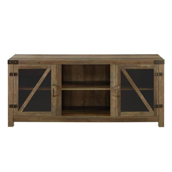 Walker Edison Furniture Company 58 In Rustic Oak Glass Barn Door Tv