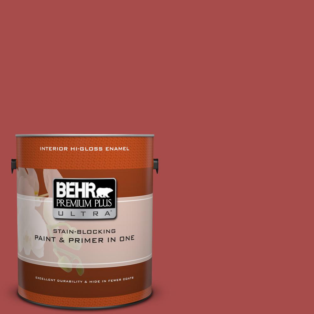 1 gal. #HDC-CL-09 Persimmon Red Hi-Gloss Enamel Interior Paint