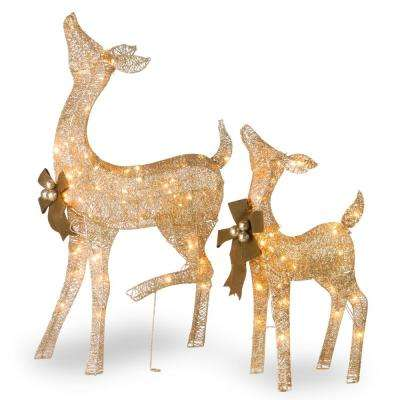 38 in. and 28 in. Fawn and Doe Decoration with Clear Lights