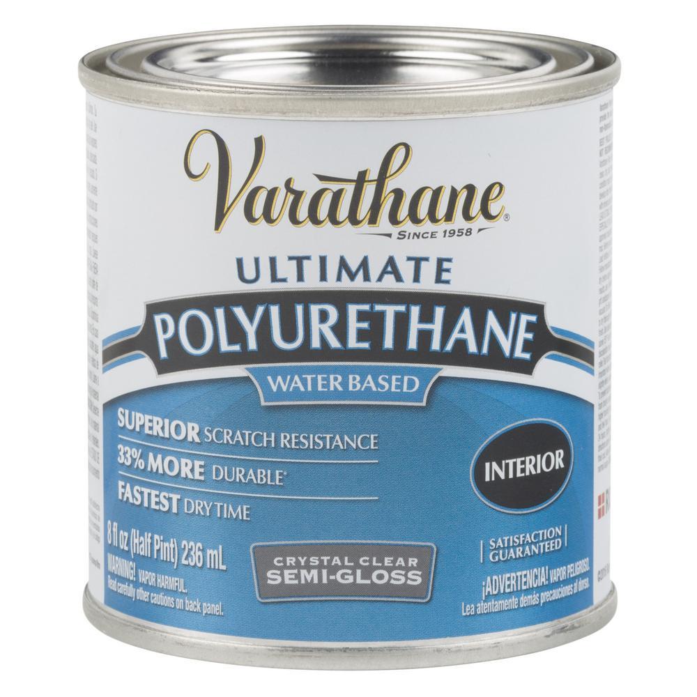 Varathane 8 oz. Clear Semi-Gloss Water-Based Interior Polyurethane (4-Pack)