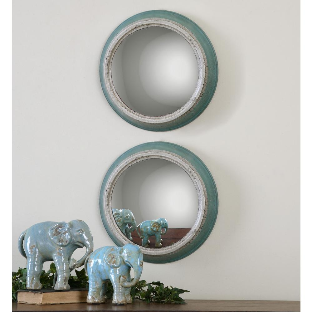 Global Direct 14.5 in. x 14.5 in. Blue Metal Framed Mirror