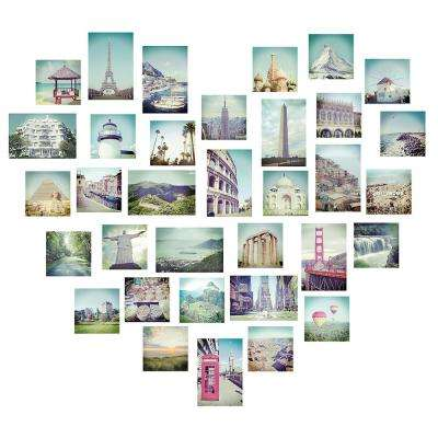34.5 in. x 39 in. Multi-Color Love 2 Travel Wall Decal