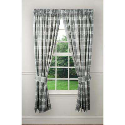 90 in. W x 84 in. L Bartlett Grey Cotton Tailored Pair Curtains with Ties