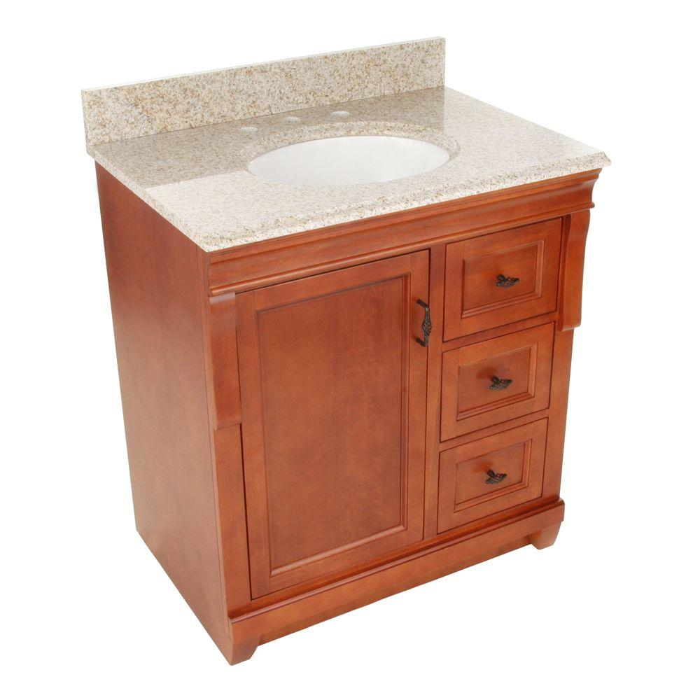 Foremost Naples 31 in. W x 22 in. D Bath Vanity with Right Drawers in Warm Cinnamon with Granite Vanity Top in Beige