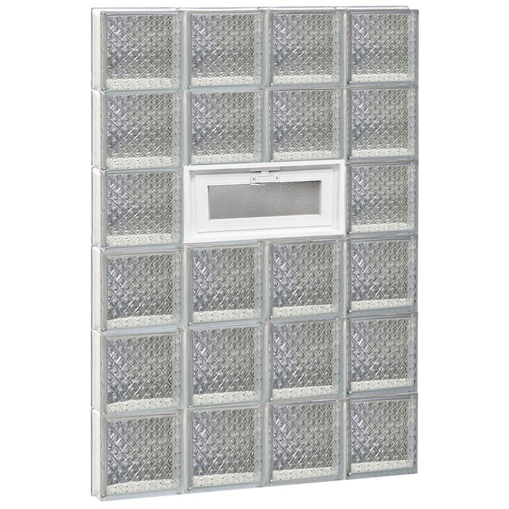 31 in. x 46.5 in. x 3.125 in. Frameless Diamond Pattern Vented Glass Block Window