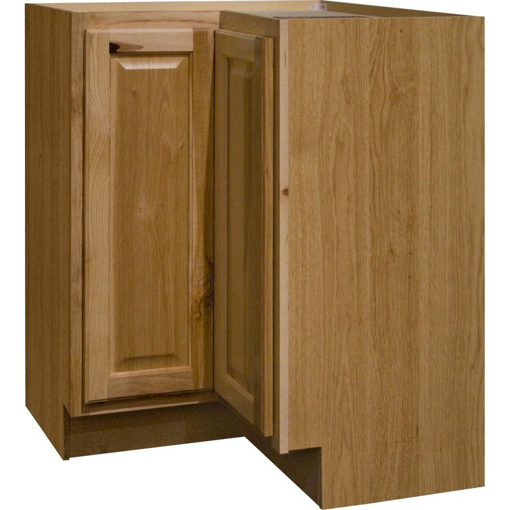 hampton bay hampton assembled lazy susan corner base kitchen cabinet in natural the home depot