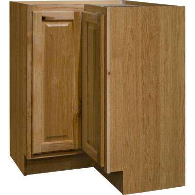Hampton Assembled 28.5x34.5x16.5in. Lazy Susan Corner Base Kitchen Cabinet in Natural Hickory