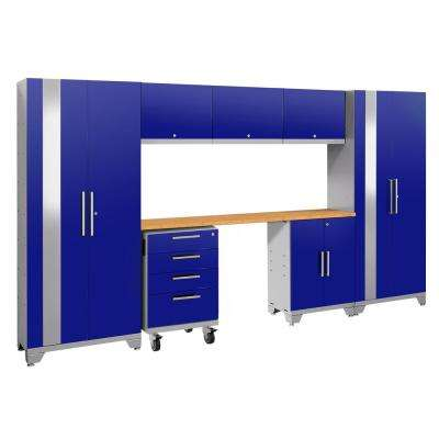 Performance 2.0 132 in. W x 75.25 in. H x 18 in. D 24-Gauge Welded Steel Bamboo Worktop Cabinet Set in Blue (8-Piece)