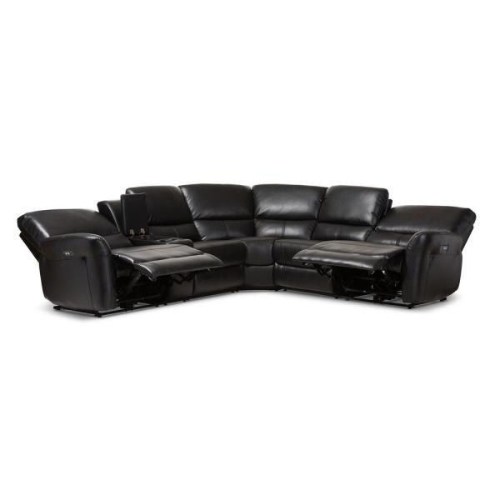 Baxton Studio Amaris 5 Piece Black Faux, Fake Leather Curved Sectional Sofa