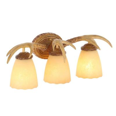 3-Light Natural Antler Vanity Light with Sunset Glass Shades