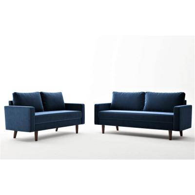 Viva Space Blue Velvet 2-Piece Living Room Set Sofa and Loveseat
