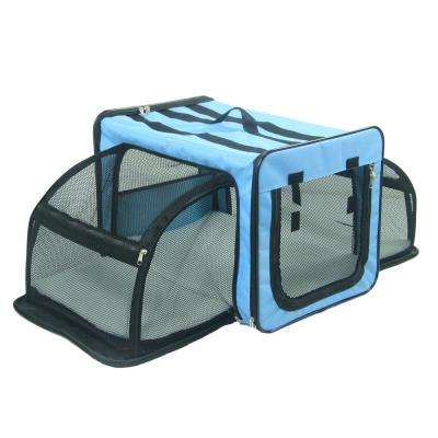 Medium Blue Capacious Dual Expandable Wire Folding Lightweight Collapsible Travel Pet Dog Crate