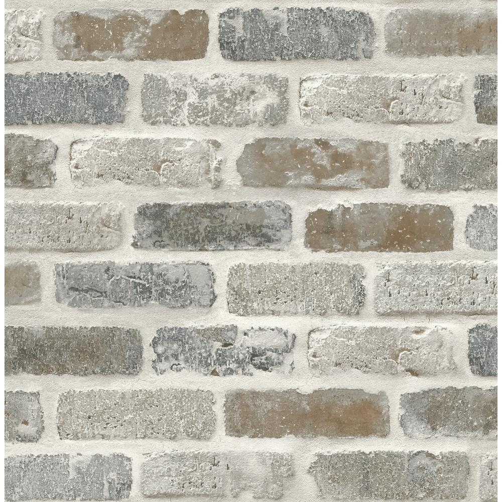 NextWall Washed Faux Brick Peel and Stick Wallpaper ...